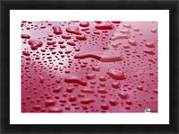 Liquid Drops On Red Surface Picture Frame print