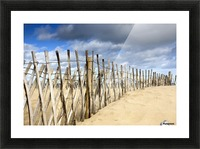 South Shields, Tyne And Wear, England; Dark Clouds Over Fence On A Beach Picture Frame print