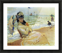 Camille on the beach at Trouville by Monet Picture Frame print