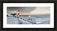 South Shields, Tyne And Wear, England; A Lighthouse And House Along The Coast Picture Frame print