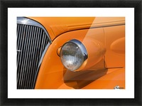 Orange Painted Vintage Car's Headlight And Front Grill; Port Colborne, Ontario, Canada Picture Frame print