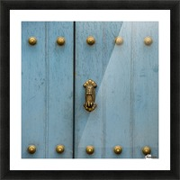 A Blue Door With Brass Decorative Knobs; Cusco, Peru Picture Frame print