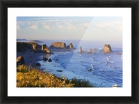 Fog Covers Rock Formations Along The Coast At Bandon State Park; Bandon, Oregon, United States of America Picture Frame print