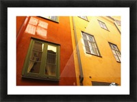 Low Angle View Of Red And Yellow Painted Buildings; Stockholm, Sweden Picture Frame print