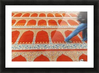 A person walking over the colourful carpet in the suleymaniye mosque;Istanbul turkey Picture Frame print