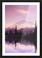 Sunset and a small reflecting pond near tipsoo lake mt. rainer national park near seattle;Washington united states of america Picture Frame print