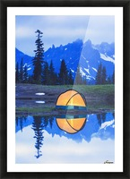 Camping tent at sunset small reflecting pond near tipsoo lake mount rainer national park near seattle;Washington united states of america Picture Frame print
