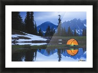 Camping tent at sunset by a small reflecting pond near tipsoo lake mount rainer national park near seattle;Washington united states of america Picture Frame print