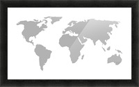World Map Grey Style Picture Frame print
