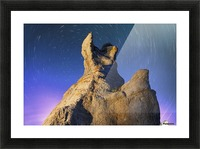 Light painting on La Montagnaise and star trails, Ile Nue de Mingan, Mingan Archipelago National Park Reserve of Canada, Cote-Nord, Duplessis region; Quebec, Canada Picture Frame print