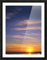 The sun sets at Umpqua Beach; Winchester Bay, Oregon, United States of America Picture Frame print