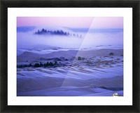 Fog over the sand dunes at dawn after a heavy frost; Lakeside, Oregon, United States of America Picture Frame print