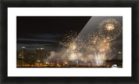 Fireworks in front of modern city skyline; Calgary, Alberta, Canada Picture Frame print