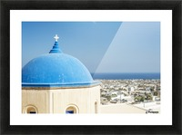Church with a blue dome roof and view of the Aegean sea; Megalochori, Santorini, Greece Picture Frame print