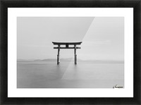 Black and white image of a floating shrine on a lake; Takashiyama, Shiga, Japan Picture Frame print