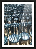 Plastic green chairs lined up in rows; Malaga Province, Andalusia, Spain Picture Frame print