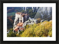 Monastery on a cliff; Meteora, Greece Picture Frame print