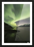 Aurora Borealis dancing above the Chugach Mountains and Turnagain Arm, Kenai Peninsula, Southcentral, Alaska Picture Frame print