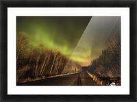 Aurora borealis over road; Thunder Bay, Ontario, Canada Picture Frame print