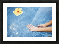 Dipping hands in the water with a floating flower; Island of Hawaii, Hawaii, United States of America Picture Frame print