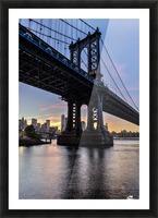 Manhattan Bridge and NYC skyline at sunset, Brooklyn Bridge Park; Brooklyn, New York, United States of America Picture Frame print