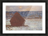 Haystacks, snow, covered the sky by Monet Picture Frame print