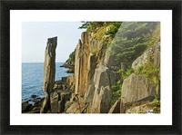 Balancing rock, basalt rock cliffs, Bay of Fundy; Long Island, Nova Scotia, Canada Picture Frame print