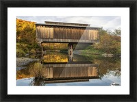 Fisher covered railroad bridge over Lamoille River in autumn; Wolcott, Vermont, United States of America Picture Frame print