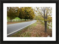 Scenic farm road in autumn; Woodstock, Vermont, United States of America Picture Frame print
