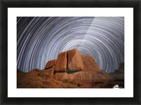 Star trails above a large boulder in Richtersveld National Park; South Africa Picture Frame print