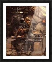 Father and son working Picture Frame print