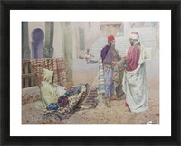 Selling carpets in the market Picture Frame print
