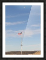Moon and American Flag over Fort Craig VP1 Picture Frame print