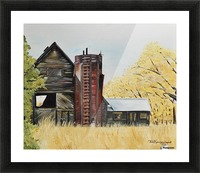 Golden Aged Barn -Washington - Red Silo  Picture Frame print