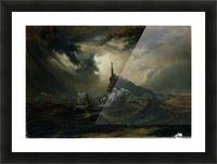 Sturmische See mit Leuchtturm Impression et Cadre photo