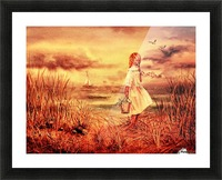 Girl At The Ocean Vintage Style Picture Frame print