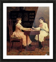 Two girls playing cards Picture Frame print