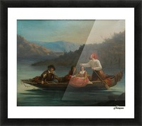 Crossing the river with a boat Picture Frame print