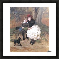 Two children and their dog Picture Frame print