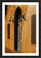 Blue Door in a Orange Wall Picture Frame print