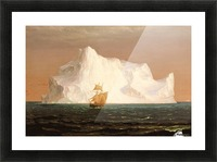 A boat sailling to an iceberg Picture Frame print