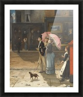 A young family walking the dog Picture Frame print