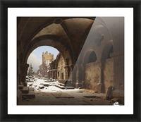 Blick auf die Kirchenruine im Winter Picture Frame print