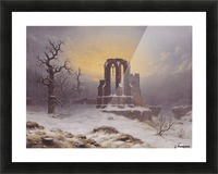 Church Ruine in the Snow Picture Frame print