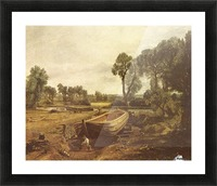 Landscape with a boat and a tree Picture Frame print