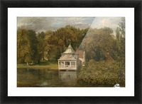 A small white cottage by the river Picture Frame print