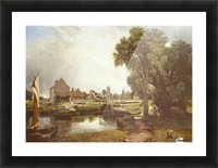 A pond in front of a house Picture Frame print