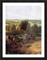 A carriage and a dog at the edge of a city Picture Frame print