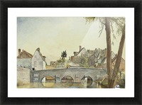 Houses behind a bridge Picture Frame print