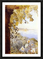 Grapes and flowers by the sea Picture Frame print